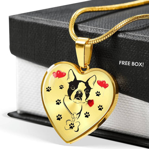 Cute Boston Terrier Print Heart Pendant Luxury Necklace-Free Shipping