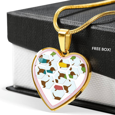 Dachshund Dog Art Print Heart Charm Necklaces-Free Shipping