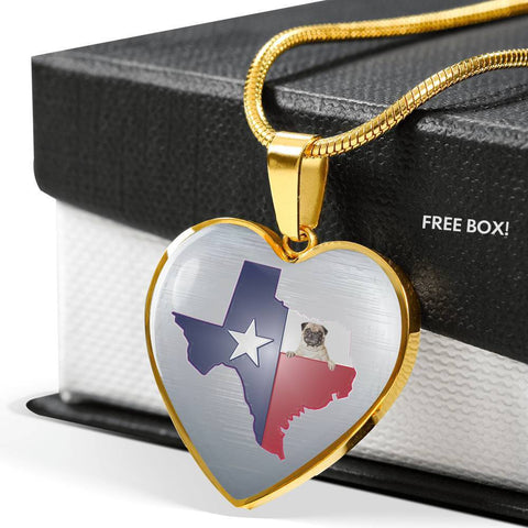 Pug Dog Texas Print Heart Pendant Luxury Necklace-Free Shipping