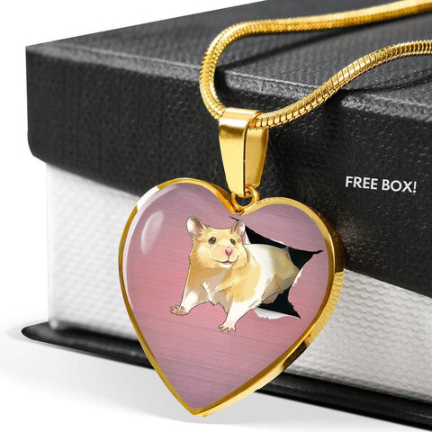 Lovely Hamster Print Heart Charm Necklaces-Free Shipping