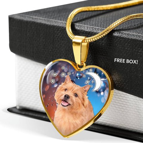 Norwich Terrier Print Heart Pendant Luxury Necklace-Free Shipping