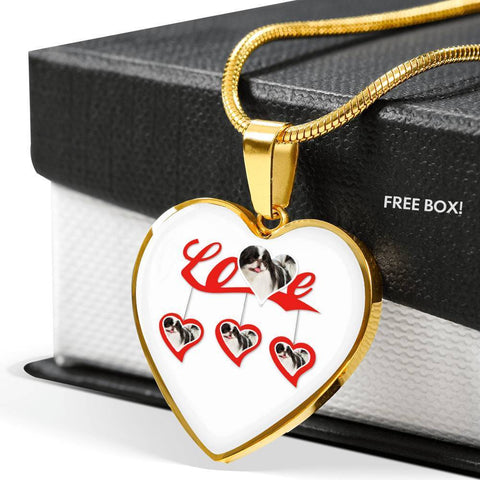 Japanese Chin Print Heart Charm Luxury Necklace -Free Shipping