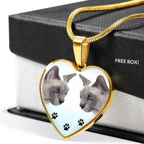 Tonkinese Cat Print Heart Pendant Luxury Necklace-Free Shipping