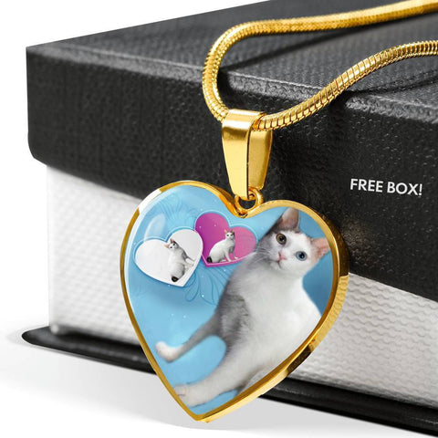 Japanese Bobtail Cat Heart Pendant Luxury Necklace-Free Shipping