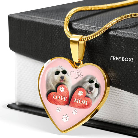 Old English Sheepdog Print Heart Pendant Luxury Necklace-Free Shipping