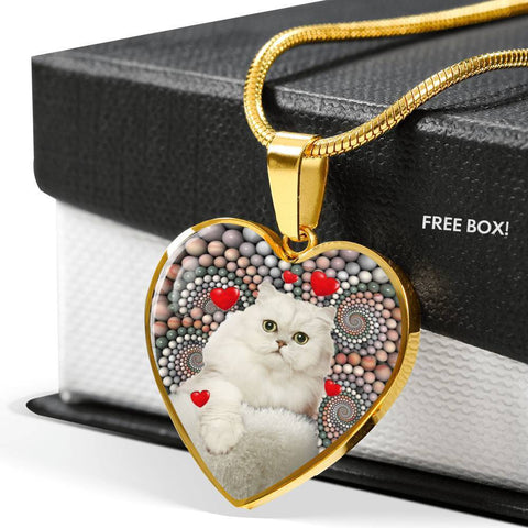 Persian Cat Print Heart Pendant Luxury Necklace-Free Shipping