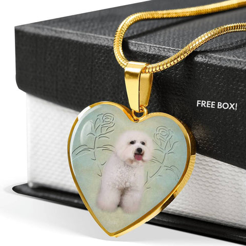 Bichon Frise Dog Heart Pendant Luxury Necklace-Free Shipping