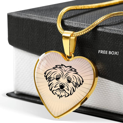 Maltese Dog Vector Art Print Heart Charm Necklaces-Free Shipping
