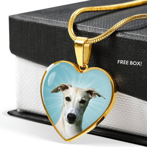 Whippet Dog Print Heart Pendant Luxury Necklace-Free Shipping
