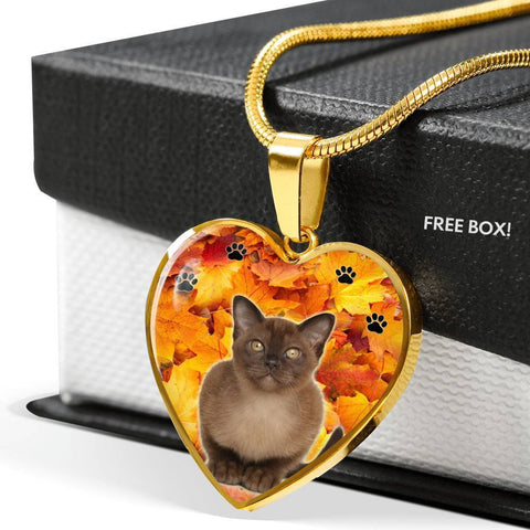 Burmese Cat Print Heart Pendant Luxury Necklace-Free Shipping