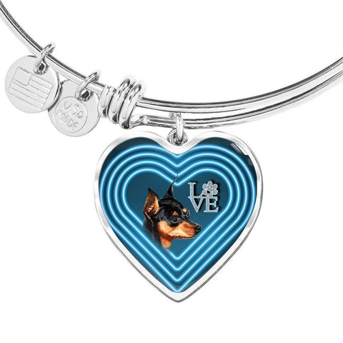 Miniature Pinscher Dog Print Heart Pendant Bangle-Free Shipping