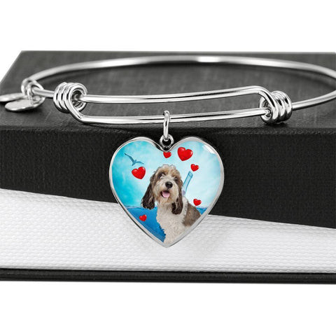Petit Basset Griffon Vendeen Print Luxury Heart Charm Bangle-Free Shipping
