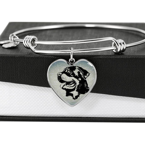 Rottweiler Dog Black&White Art Print Heart Pendant Bangle-Free Shipping