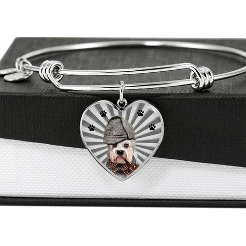 Dandie Dinmont Terrier Print Luxury Heart Charm Bangle-Free Shipping