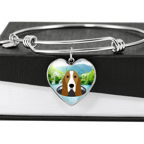 Basset Hound Dog Vector Print Heart Pendant Bangle-Free Shipping