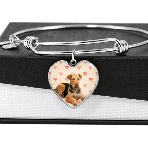 Airedale Terrier Print Luxury Heart Charm Bangle -Free Shipping