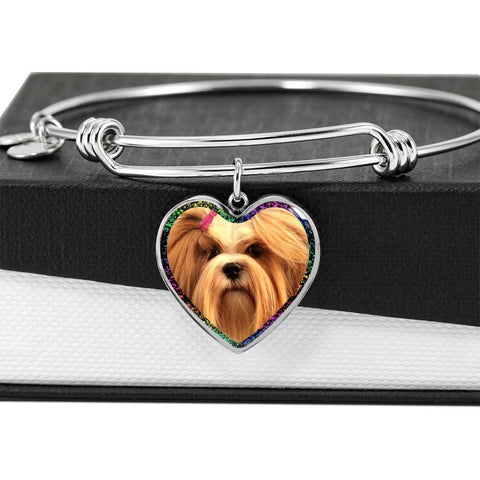 Lhasa Apso Print Heart Pendant Bangle-Free Shipping