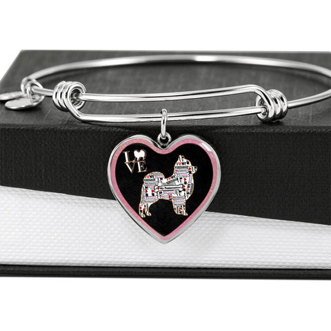 Pomeranian Dog Love Print Heart Pendant Bangle-Free Shipping