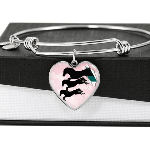 Horse Running Art Print Heart Pendant Bangle-Free Shipping