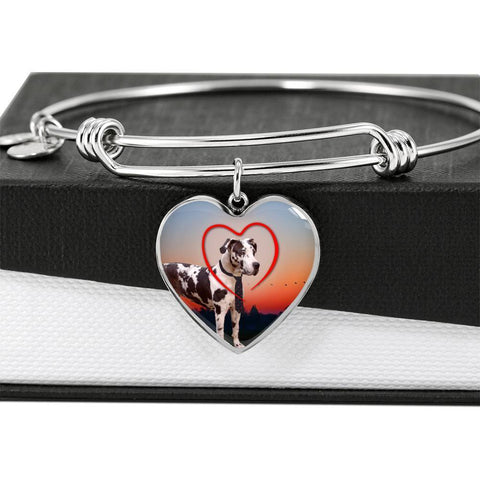 Great Dane Print Luxury Heart Charm Bangle-Free Shipping