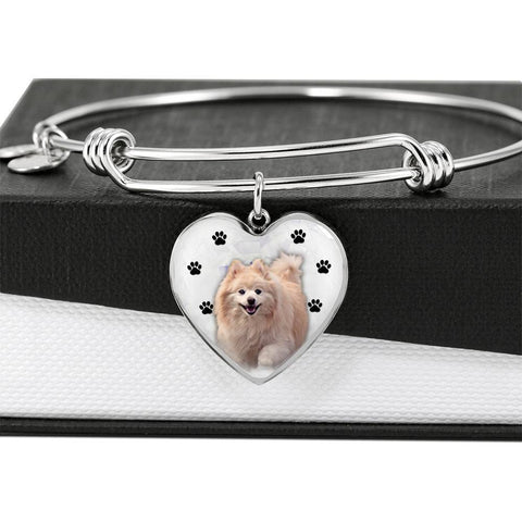 Cute Pomeranian Print Luxury Heart Charm Bangle-Free Shipping