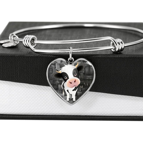 Cow Print Heart Pendant Luxury Bangle-Free Shipping