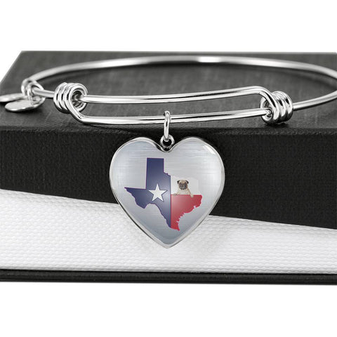 Pug Dog Texas Print Heart Pendant Luxury Bangle-Free Shipping