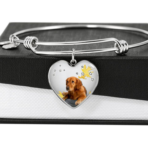 Cute Golden Retriever Print Luxury Heart Charm Bangle-Free Shipping