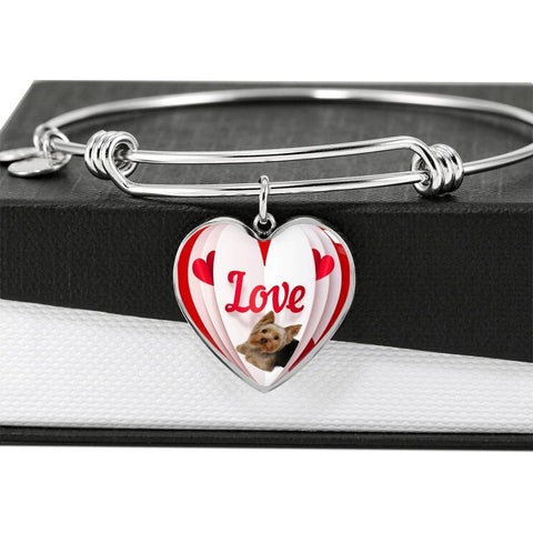 Yorkshire Terrier(Yorkie) Love Print Heart Pendant Luxury Bangle-Free Shipping