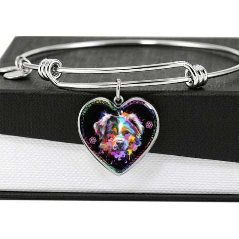 Australian Shepherd Dog Print Heart Pendant Bangle-Free Shipping