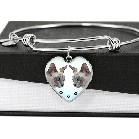 Tonkinese Cat Print Heart Pendant Luxury Bangle-Free Shipping