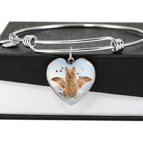 Australian Terrier Print Luxury Heart Charm Bangle -Free Shipping