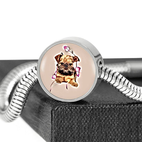 Brussels Griffon Print Circle Charm Steel Bracelet-Free Shipping