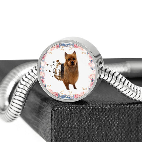 Amazing Australian Terrier Print Circle Charm Steel Bracelet-Free Shipping