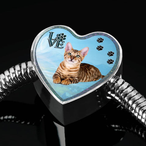 Toyger Cat Print Heart Charm Steel Bracelet-Free Shipping