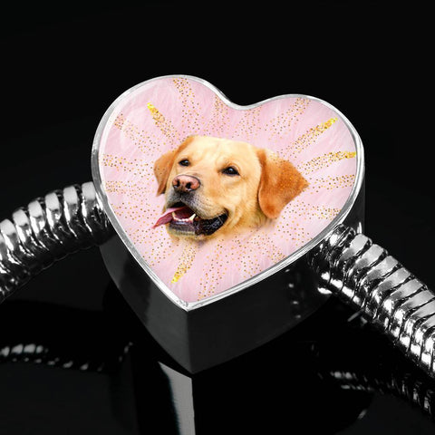 Labrador Retriever Dog Print Heart Charm Steel Bracelet-Free Shipping