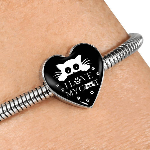 """ I Love My Cat"" Print Heart Charm Steel Bracelet-Free Shipping"