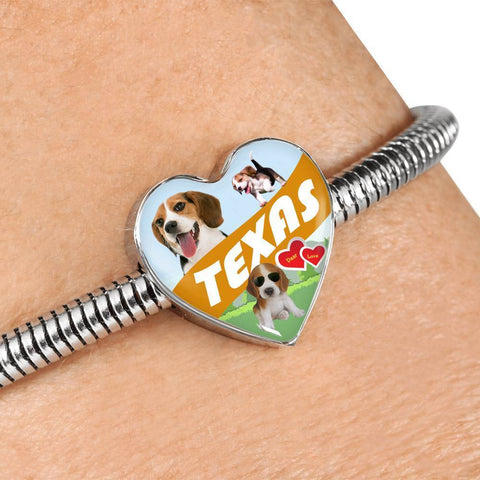 Cute Beagle Dog Print Texas Heart Charm Steel Bracelet-Free Shipping