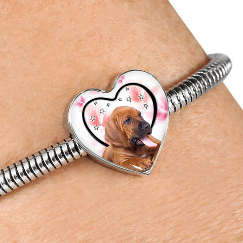 Bloodhound Print Heart Charm Steel Bracelet-Free Shipping