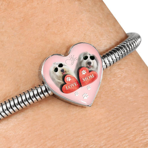 Old English Sheepdog Dog Print Heart Charm Steel Bracelet-Free Shipping