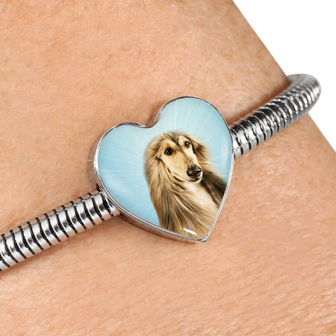 Afghan Hound Dog Print Heart Charm Steel Bracelet-Free Shipping