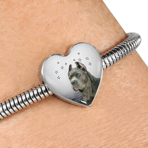 Cane Corso Print Heart Charm Steel Bracelet-Free Shipping