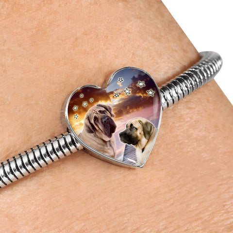English Mastiff Print Heart Charm Steel Bracelet-Free Shipping