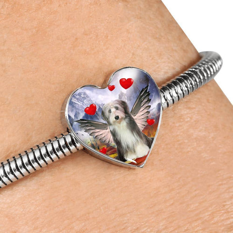 Bearded Collie Print Heart Charm Steel Bracelet-Free Shipping