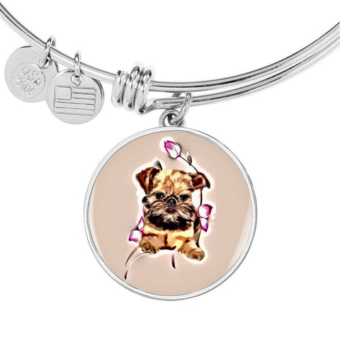 Brussels Griffon Print Circle Pendant Luxury Bangle-Free Shipping