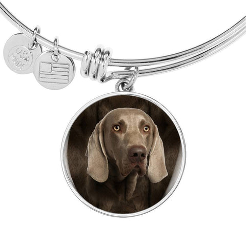 Weimaraner Dog Print Circle Pendant Luxury Bangle-Free Shipping