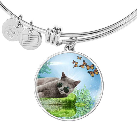 Russian Blue Cat Print Circle Pendant Luxury Bangle-Free Shipping
