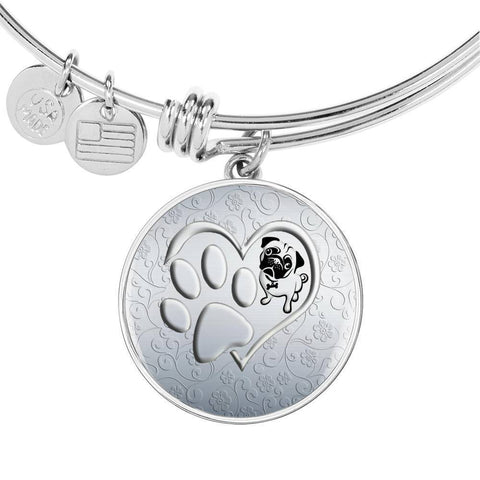 Pug Paws Print Circle Pendant Luxury Bangle-Free Shipping