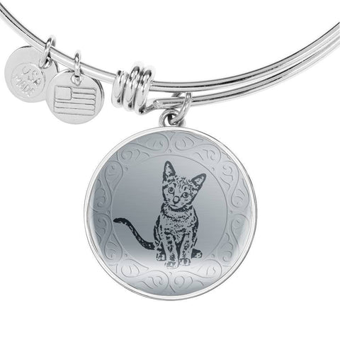 Russian Blue Cat Art Print Circle Pendant Luxury Bangle-Free Shipping