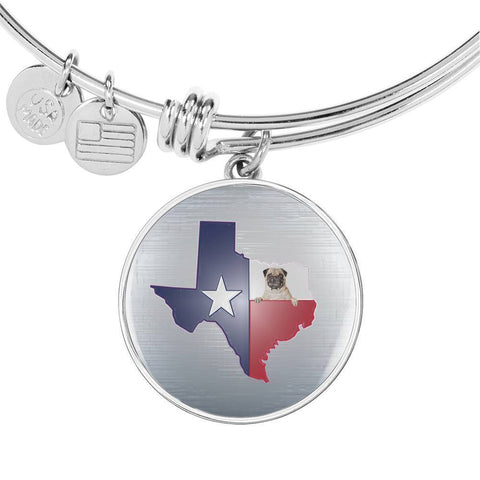 Pug Dog Texas Print Circle Pendant Luxury Bangle-Free Shipping